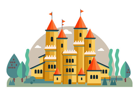 Vector illustration of a cute yellow castle. Fairy illustration for children. Castle with landscape