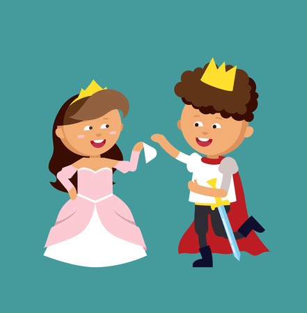 Illustration of very cute pince and princess. Adorable elegance style little fairy girl and boy