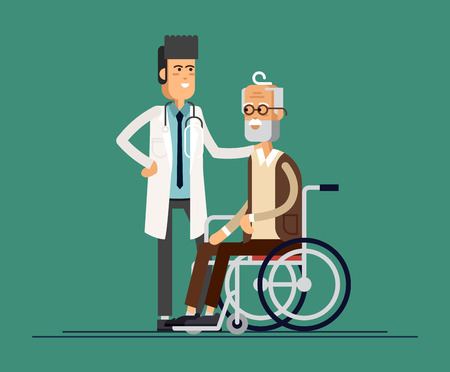 Male doctor helps her grandmother to go to the walker. Caring for the elderly. Vector illustration Illustration