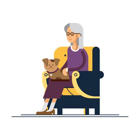 Oma zit in een comfortabele stoel en houd de puppy op zijn knieën. Vectorillustratie van een plat ontwerp