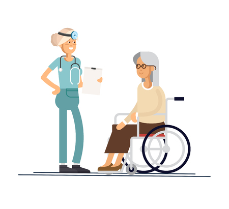 Nurse helps her grandmother to go to the walker. Caring for the elderly. Vector illustration style