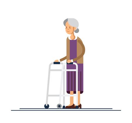Grandmother walking using a walker. Vector illustration Vettoriali