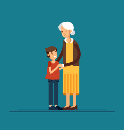 おばあさんを抱きしめた孫。ベクターイラスト
