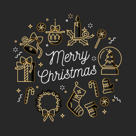 Vector linear design Christmas greetings card on white background. Typography icon for Xmas background, banners or posters and other printables.