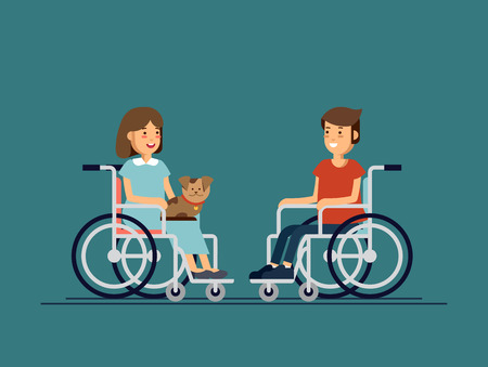 Cute disabled boy and girl kid sitting in a wheelchair and keep the puppy on ones knees. Handicapped person. Illustration