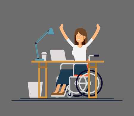 Disabled young woman in wheelchair working with computer. Online job and startup. Physical disability and society.