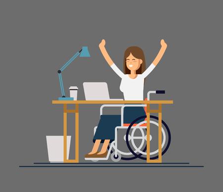 Gehandicapte jonge vrouw in rolstoel die met computer werkt. Online opdracht en opstarten. Lichamelijke handicap en samenleving. Stockfoto - 91681018