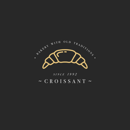Croissant bakery emblem  with typography.