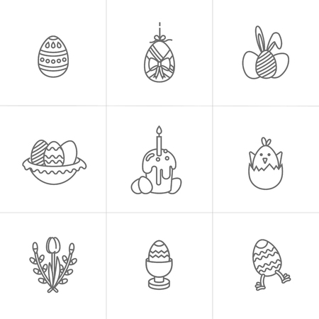Vector linear design Easter greetings elements. Set of icon for Happy Easter cards, banners or posters and other printables. Spring holidays design elements.