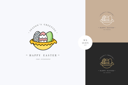 Vector linear design Easter greetings elements on white background. Typography set of icon for Happy Easter card, banners or posters and other printables. Spring holidays design elements.