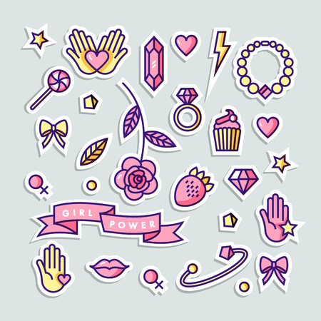 Girl power quote. Stickers set fashion badges, patches and pins with star, diamond, lips and jewelry. Vector doodle illustration. Feminism slogan.