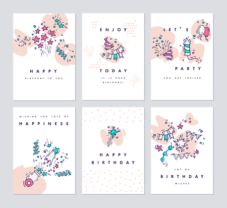 Set of birthday greeting cards and colorful party invitation set of birthday greeting cards and colorful party invitation hand drawing celebrate and party symbol stopboris Image collections