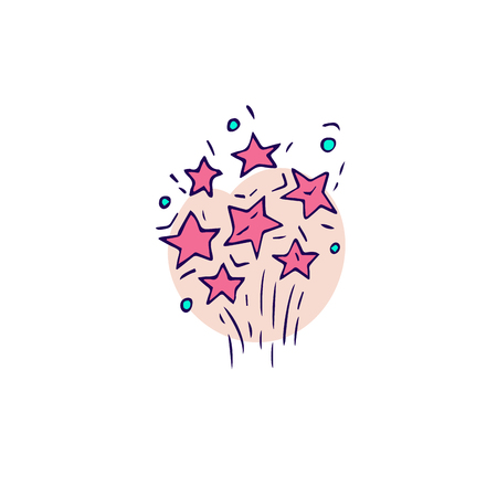 Hand draw firework icon. Petard, stars and pyrotechnics. Festival and event, celebrate and party symbol. Vector illustration