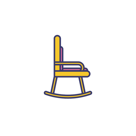 Vector linear wood furniture logo. Hand made rocking chair Illustration