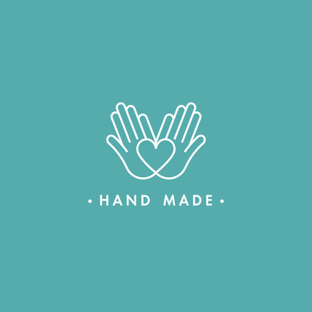Vector hand made labels and badges in linear trendy style - hand made