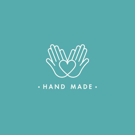 Fabriqué à la main de vecteur des étiquettes et des badges dans un style linéaire tendance - fabriqué à la main