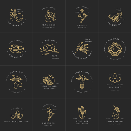 Vector set design templates and emblems - healthy and cosmetics oils. Different natural, organic oils. Ilustração