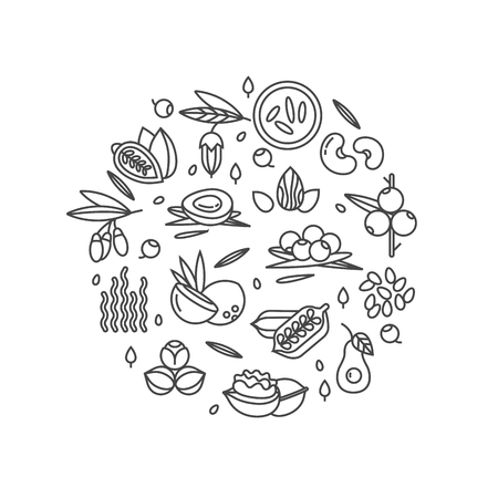 Superfood vector concept. Berries, nuts, vegetables fruits and seeds. Organic superfoods for health. Detox and weightloss supplements. Ilustrace