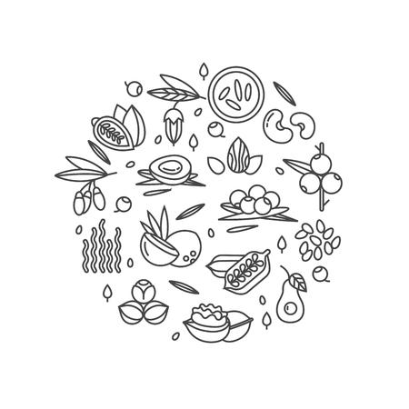 Superfood vector concept. Bessen, noten, groenten fruit en zaden. Biologische superfoods voor de gezondheid. Detox en gewichtsverlies supplementen.