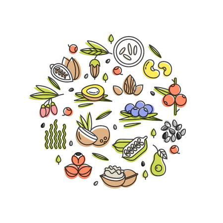 スーパーフードベクトルコンセプト。ベリー、ナッツ、野菜の果物や種子。健康のためのオーガニックスーパーフード。デトックスと減量のサプリ
