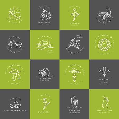 Vector set design templates and emblems - healthy and cosmetics oils. Different natural, organic oils. Illusztráció