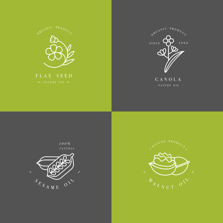 Vector set design templates and emblems - healthy and cosmetics oils - flax seed, walnut, sesame and canola.