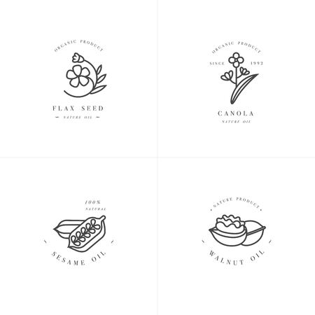 Vector set ontwerpsjablonen en emblemen - gezonde en cosmetische oliën - lijnzaad, walnoot, sesam en canola.