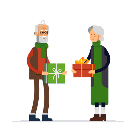 Vector flat illustration of elderly couple celebrating Christmas and give a gift. Grandfather and grandmother ready to celebrate