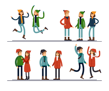 People and Christmas season. Happy winter vacation. Warmly dressed people in the jump and standing together. The concept of active rest and joyful pastime. Stock Illustratie