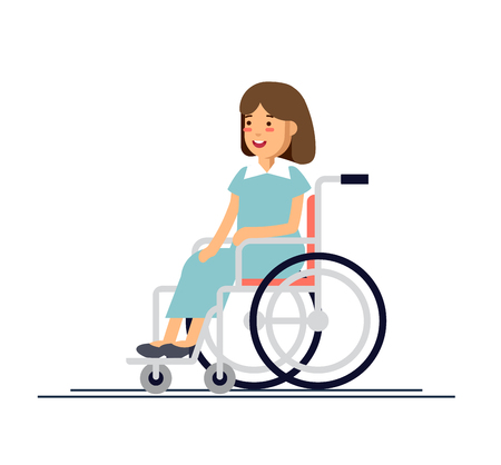 Cute disabled girl kid sitting in a wheelchair. Handicapped person. Flat style cartoon vector illustration.
