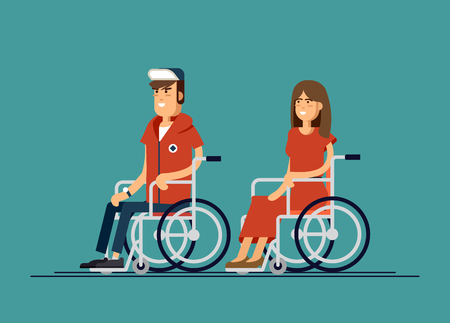 Cute disabled man and woman sitting in a wheelchair. Handicapped person. Disabled people