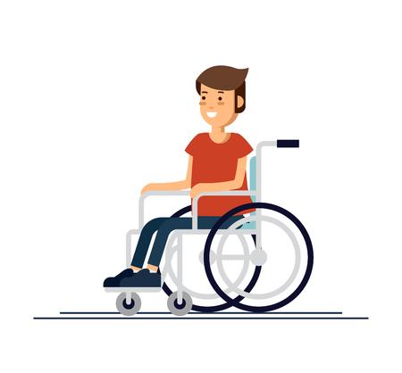 Lindo niño discapacitado niño sentado en una silla de ruedas. Persona discapacitada. Ilustración de vector de dibujos animados de estilo plano.
