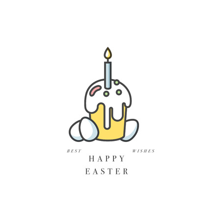 Vector linear design Easter greetings elements on white background. Typography ang icon for Happy Easter card, banners or posters and other printables. Spring holidays design elements.