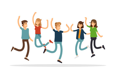 Vector illustration of happy young group of people jumping on a white background. The concept of friendship, emotions success