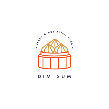 Design vector icon template and emblem or badge. Asian food - dim sum linear icons.