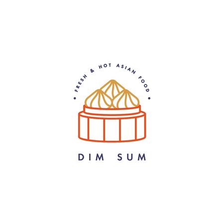 icône de conception de vecteur modèle et emblème ou icône de remise asiatique - dim sum linéaires , des icônes