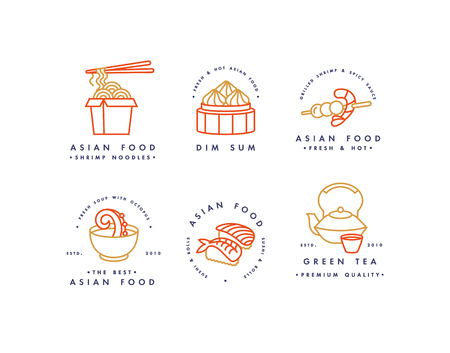 Set of vector icon design templates and emblems or badges. Asian food - noodles, dim sum, soup, sushi linear icon.
