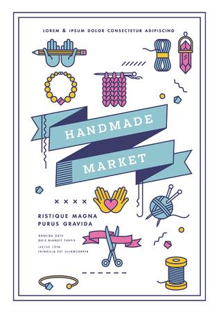 Vector illustration handmade market poster, crafts workshop, art fair and festival poster. Handmade tools.