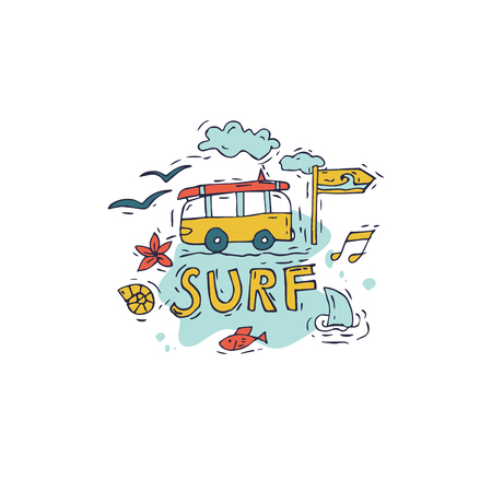 Hand draw icon surfing collection and summer holiday for your design. Tourism and vacation theme.