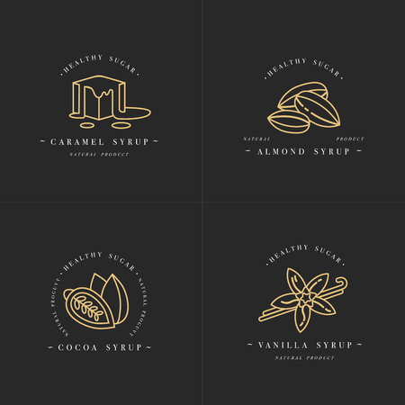 Vector set design golden templates logo and emblems - syrups and toppings-caramel, almond, cocoa, vanilla. Иллюстрация