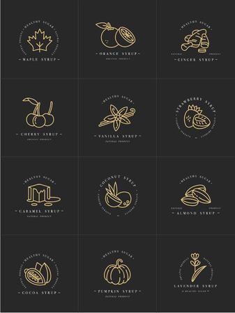 Goldenes Schablonenlogo und -embleme des Vektorsatzdesigns - Sirupe und Beläge. Lebensmittel-Symbol. Logos in der modischen linearen Art lokalisiert auf weißem Hintergrund.