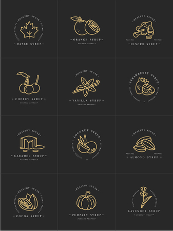 Vector set design golden templates logo and emblems - syrups and toppings. Food icon. Logos in trendy linear style isolated on white background. Иллюстрация