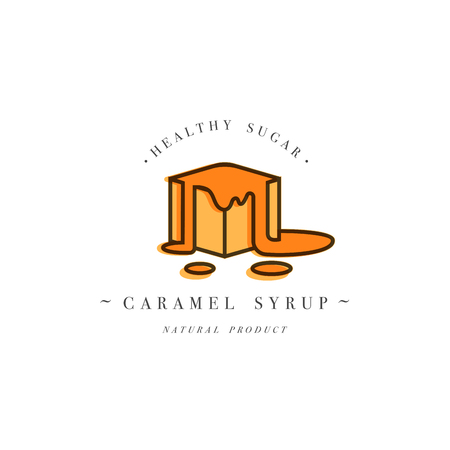Packaging design template logo and emblem - syrup and topping - piece of sweet caramel. Logo in trendy linear style.