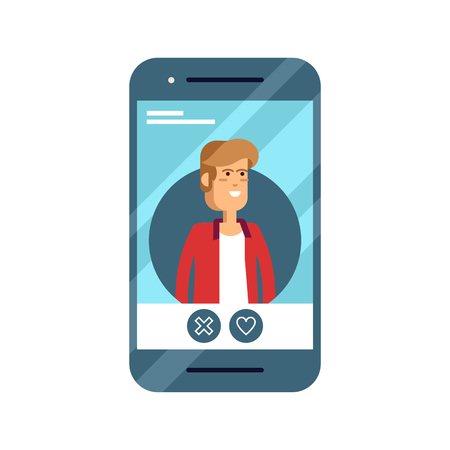 Cool flat vector concept on online application dating user. Phone with dating web site male profile on display with various icons around.