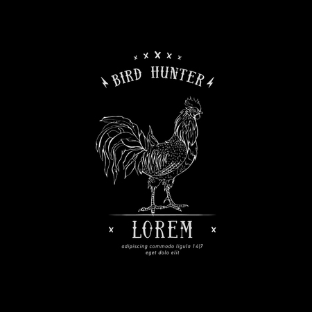Rooster in graphic style, hand drawn illustration. Vector logo cock. Icon of bird