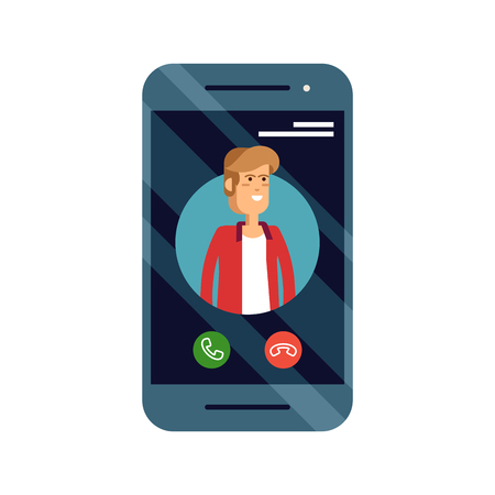 Incoming call concept vector illustration with mobile phone with mal caller ID on screen and accept or decline buttons Illustration