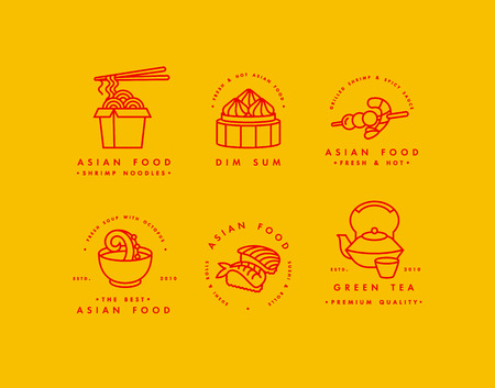 Vector set of logo design templates and emblems or badges. Asian food - noodles, dim sum, soup, sushi. Linear logos, golden and red