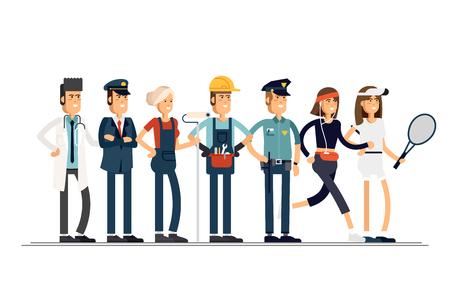 Día laboral. Un grupo de personas de diferentes profesiones sobre un fondo blanco. Ilustración de vector de estilo plano.