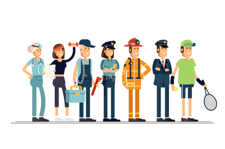 Labor Day. A group of people of different professions on a white background. Vector illustration in a flat style. Vectores