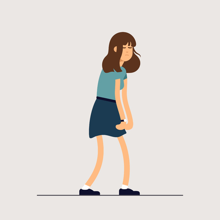 Vector illustration young tired woman, sleepy mood, weak health, mental exhausted. Concept illustration female character is very sad